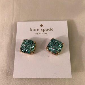 Kate Spade glitter stud earrings aqua teal gold